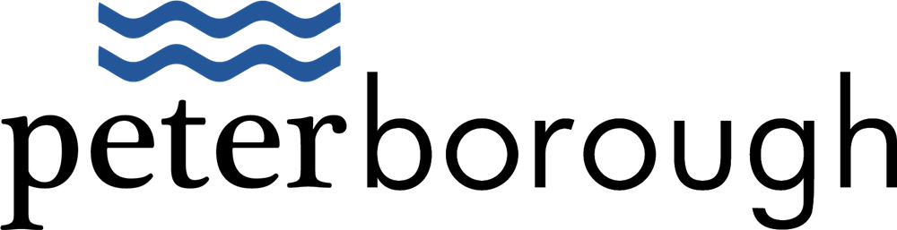 city of peterborough logo with blue wave icon